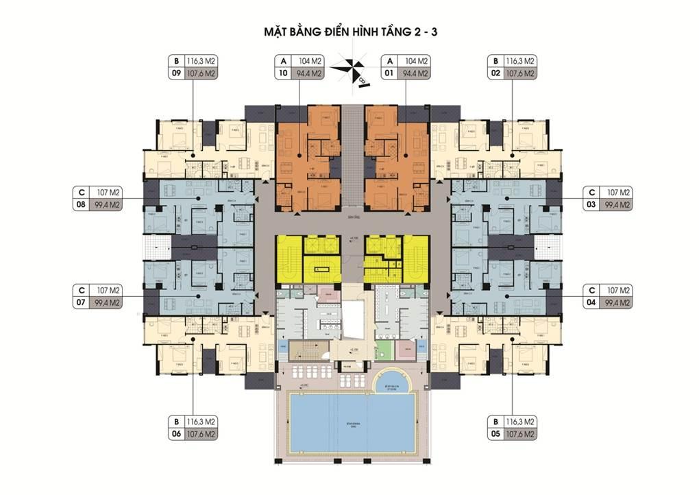 mặt bằng điển hình tầng 2-3 Chung cư Northern Diamond