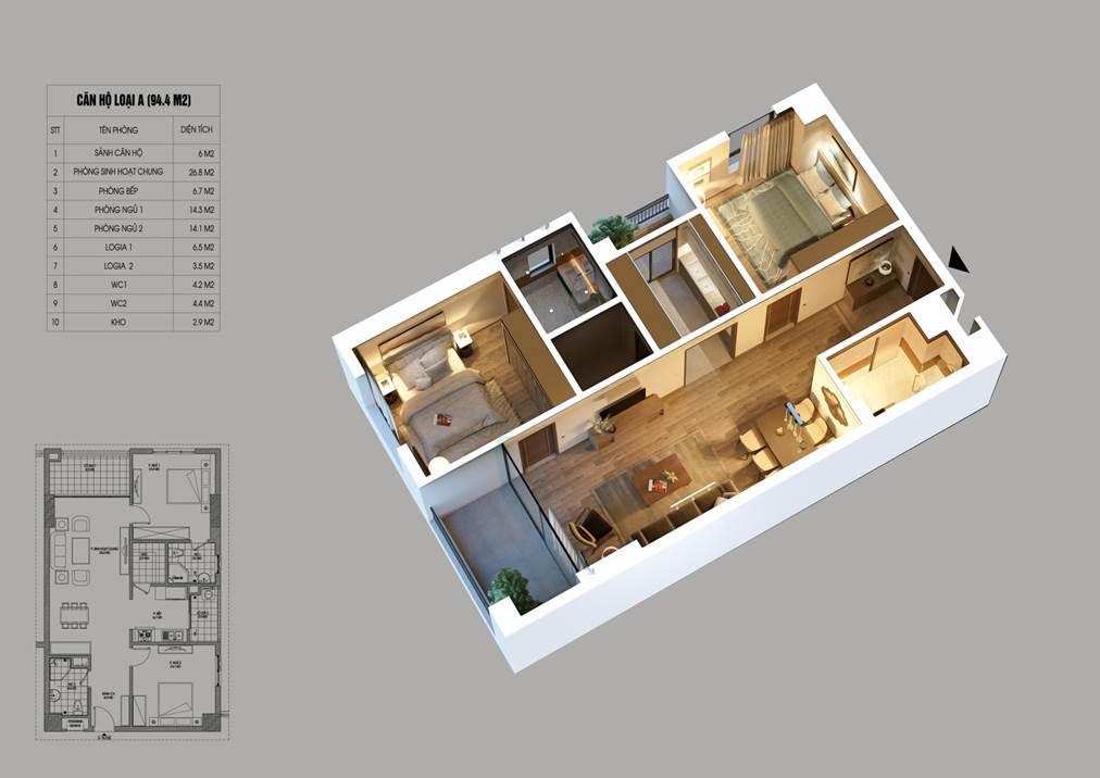 mặt bằng căn hộ điển hình loại A 2 phòng ngủ