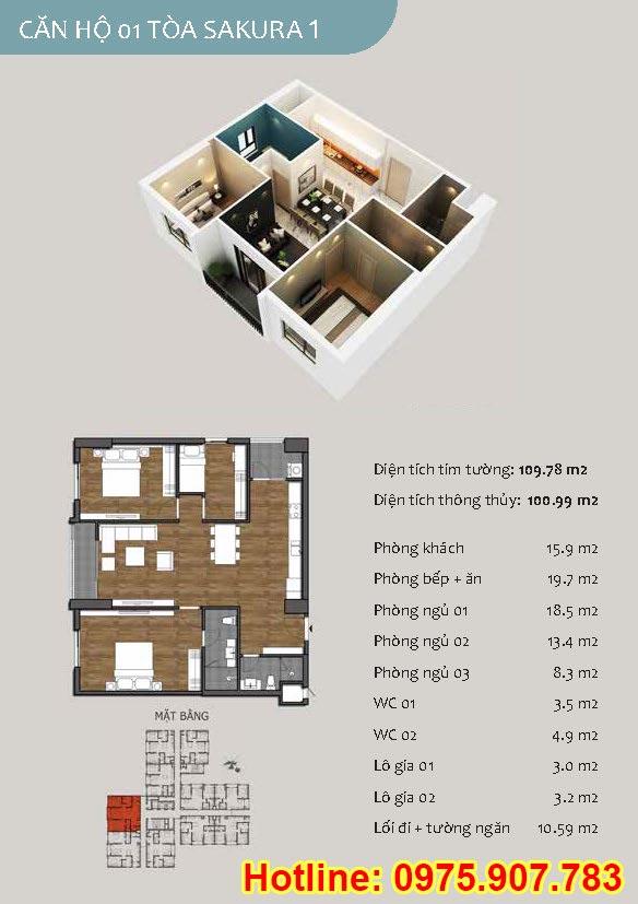 Mặt bằng căn 01- 3 phòng ngủ - ct13- sakura 1- hồng hà ecocity