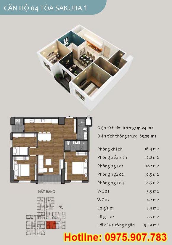 Mặt bằng căn 04 - 3- phòng ngủ - ct13- sakura 1- hồng hà ecocity