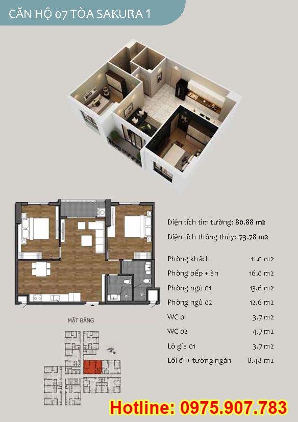 Mặt bằng căn 07- 2 phòng ngủ - ct13- sakura 1- hồng hà ecocity