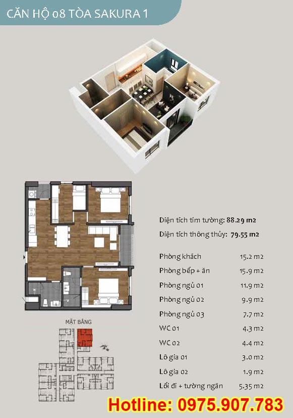 Mặt bằng căn 08- 2 phòng ngủ - ct13- sakura 1- hồng hà ecocity