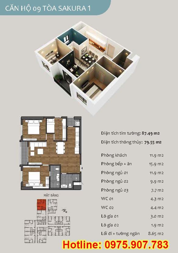 Mặt bằng căn 09- 2 phòng ngủ - ct13- sakura 1- hồng hà ecocity