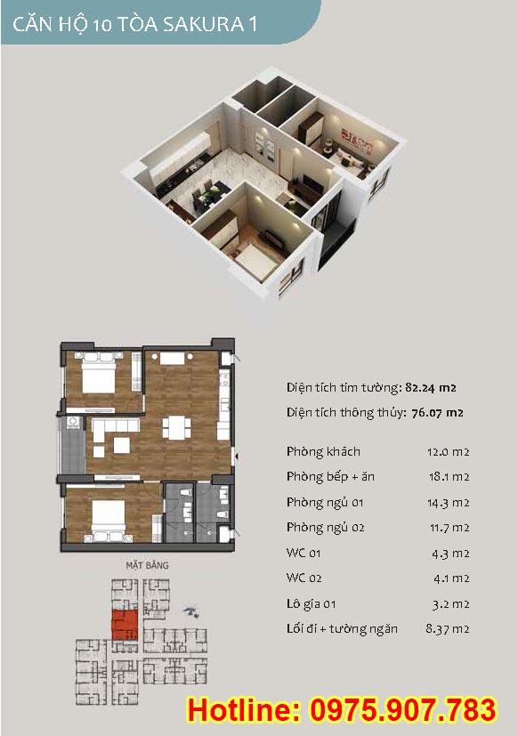 Mặt bằng căn 10- 2 phòng ngủ - ct13- sakura 1- hồng hà ecocity