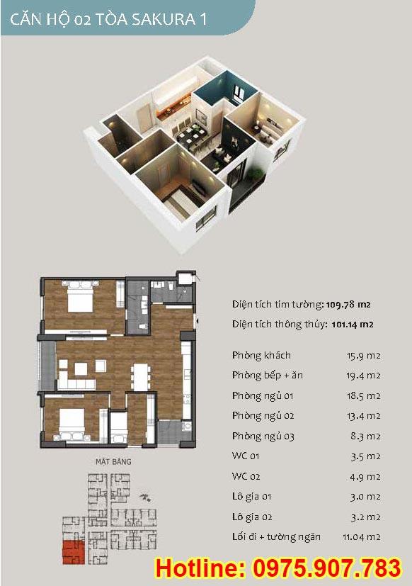 Mặt bằng căn số 02- căn 3 phòng ngủ - ct13- sakura 1- hồng hà ecocity