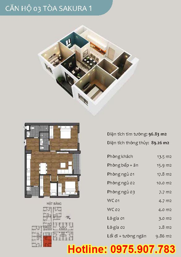 Mặt bằng căn số 03 - 3 phòng ngủ - ct13- sakura 1- hồng hà ecocity