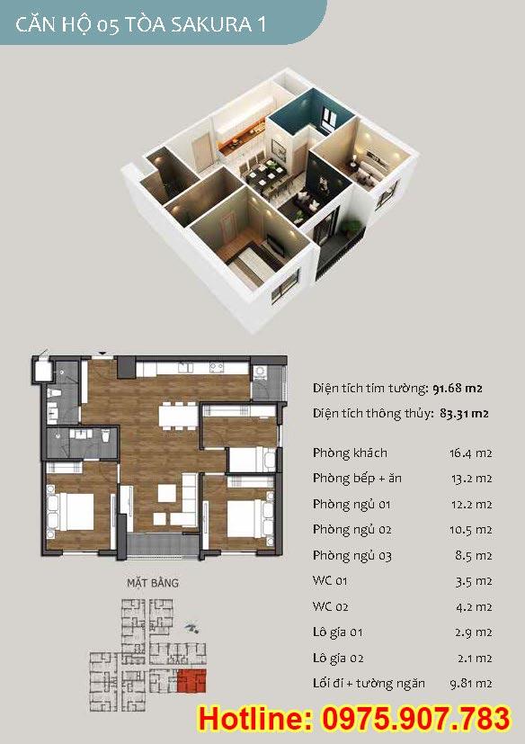 Mặt bằng căn số 05 - 3 phòng ngủ - ct13- sakura 1- hồng hà ecocity