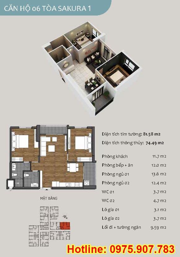 Mặt bằng căn số 06 -3 phòng ngủ - ct13- sakura 1- hồng hà ecocity