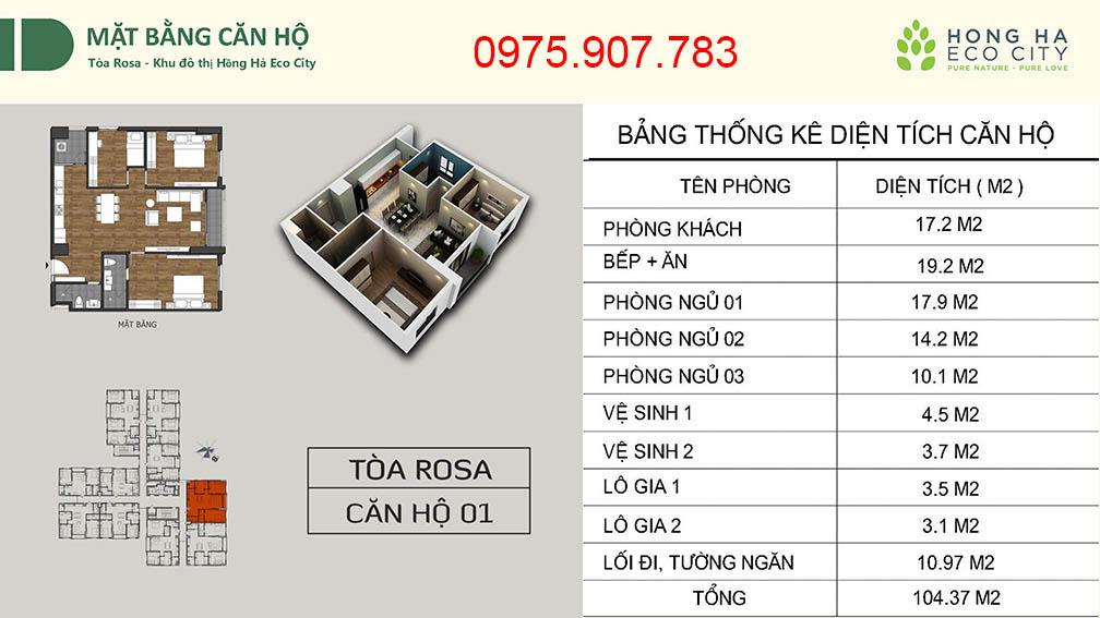 Hồng Hà Eco City - CT12 căn 01