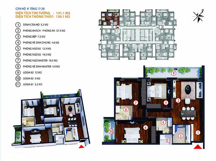 Chung cư Gold Tower 275 Nguyễn Trãi - căn số 2-9