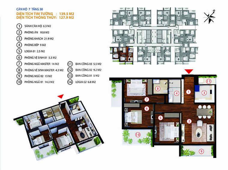 Chung cư Gold Tower 275 Nguyễn Trãi - căn số 4-7
