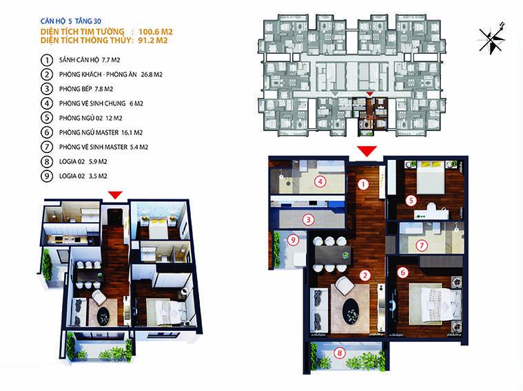 Chung cư Gold Tower 275 Nguyễn Trãi - căn số 5-6