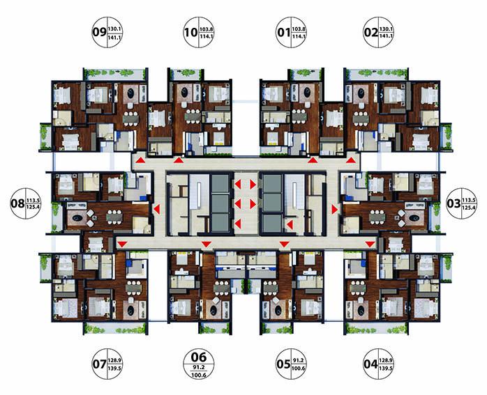 Chung cư Gold Tower 275 Nguyễn Trãi - mặt bằng căn hộ