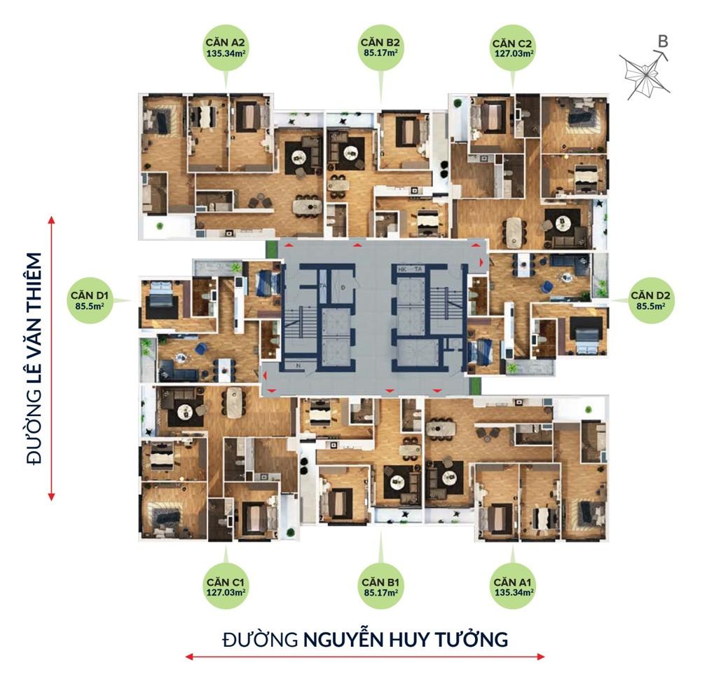 Bohemia Residence - mặt bằng căn hộ