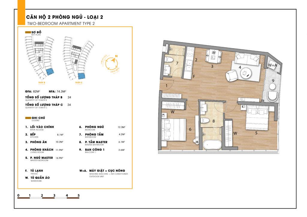 Mặt bằng căn 3 phòng ngủ